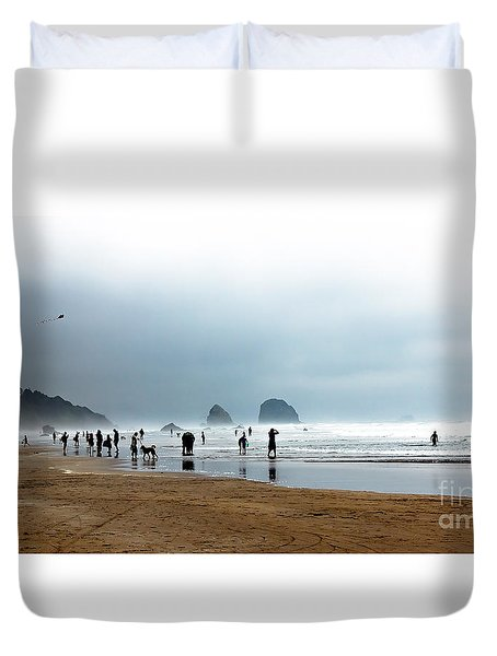 Beach Fun At Ecola  Duvet Cover by Robert Bales