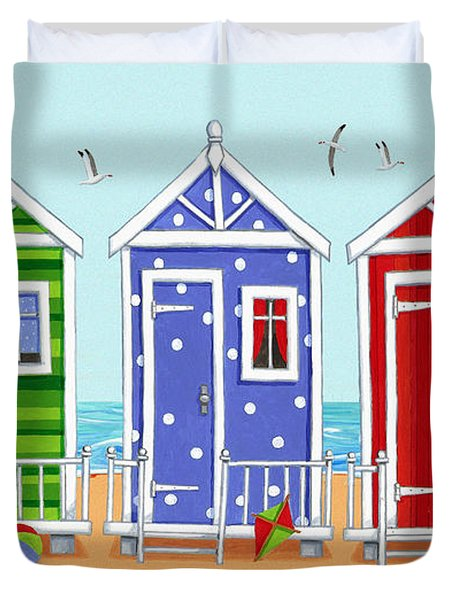 Beach Huts Duvet Cover by Peter Adderley