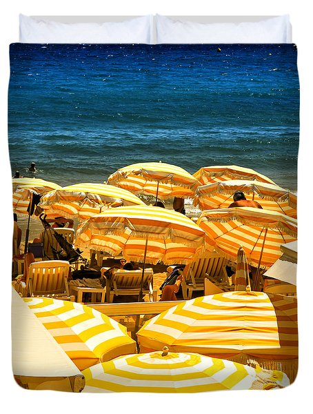 Beach in Cannes  Duvet Cover by Elena Elisseeva
