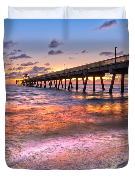 Beach Lace Duvet Cover by Debra and Dave Vanderlaan
