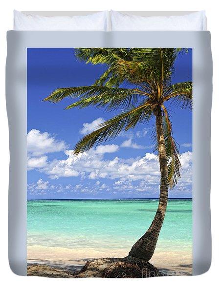 Beach of a tropical island Duvet Cover by Elena Elisseeva