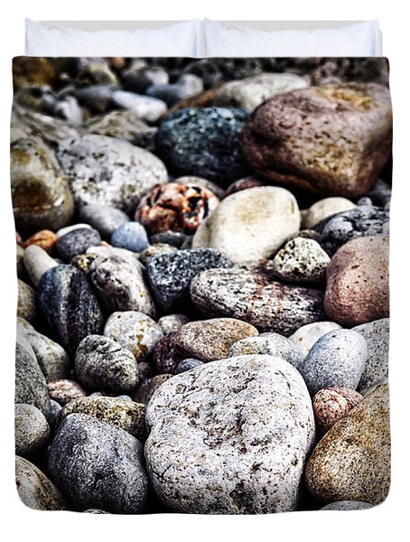 Beach pebbles  Duvet Cover by Elena Elisseeva