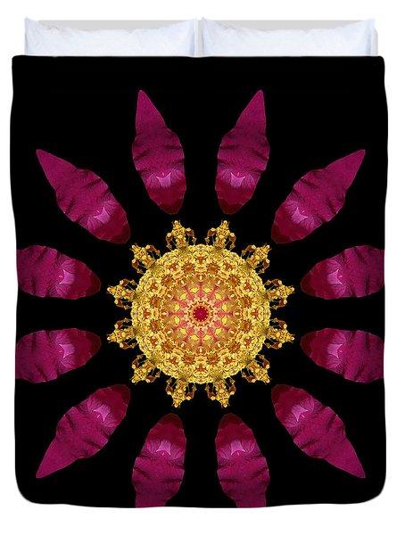 Beach Rose Iv Flower Mandala Duvet Cover by David J Bookbinder