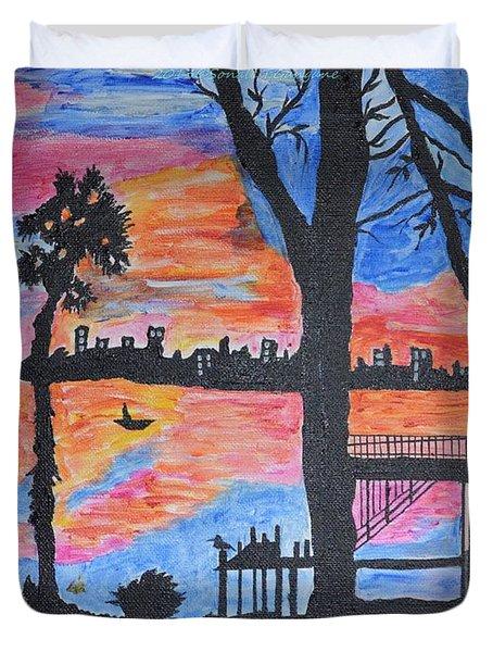 Beach Silhouette Duvet Cover by Sonali Gangane