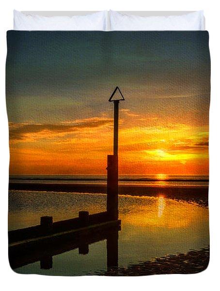 Beach Sunset Duvet Cover by Adrian Evans