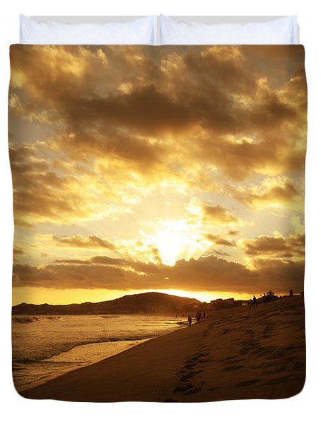 Beach Sunset Duvet Cover by Cheryl Young