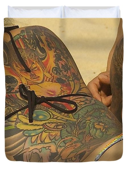 Beach Tattoo Duvet Cover by Stuart Litoff