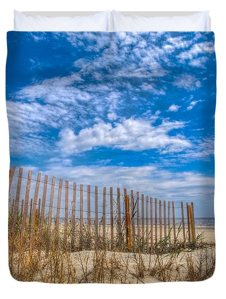 Beach Under Blue Skies Duvet Cover by Debra and Dave Vanderlaan
