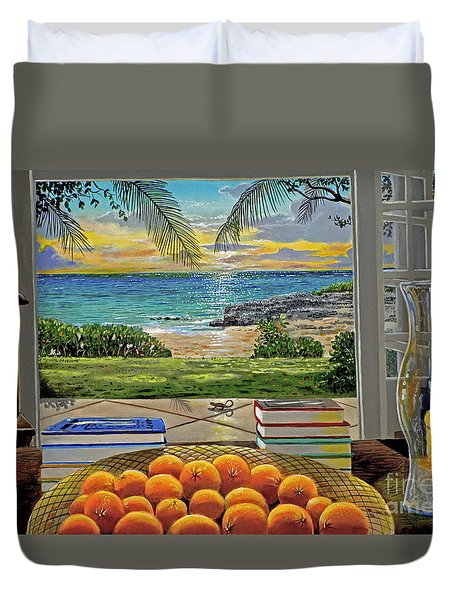 Beach View Duvet Cover by Carey Chen