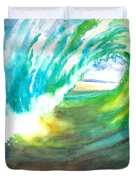 Beach View From Wave Barrel Duvet Cover by Carlin Blahnik
