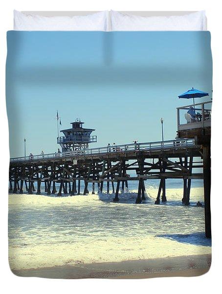 Beach View With Pier 1 Duvet Cover by Ben and Raisa Gertsberg