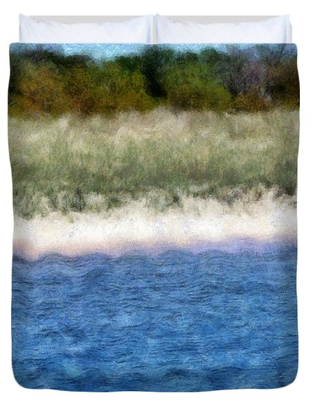 Beach With Short Dune Duvet Cover by Michelle Calkins