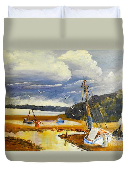 Beached Boat And Fishing Boat At Gippsland Lake Duvet Cover by Pamela  Meredith