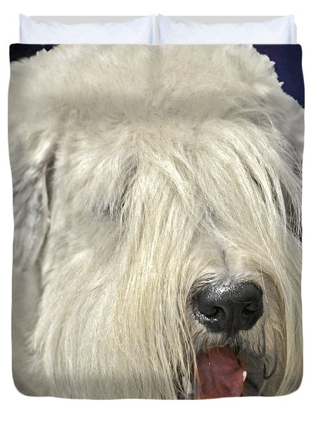 Bearded Collie - the 'Bouncing Beardie' Duvet Cover by Christine Till