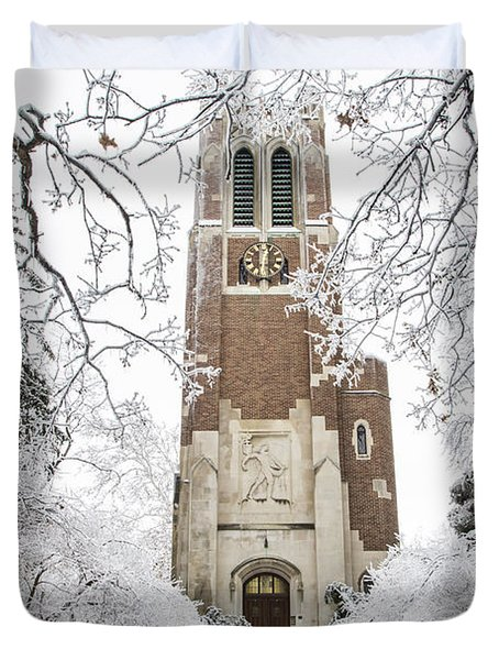 Beaumont Tower Ice Storm  Duvet Cover by John McGraw