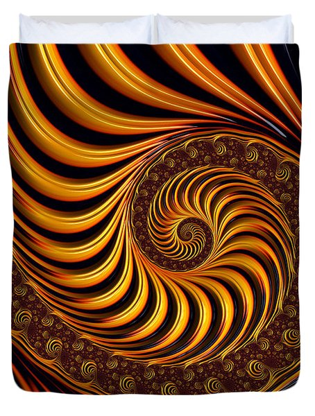 Beautiful golden fractal spiral artwork  Duvet Cover by Matthias Hauser