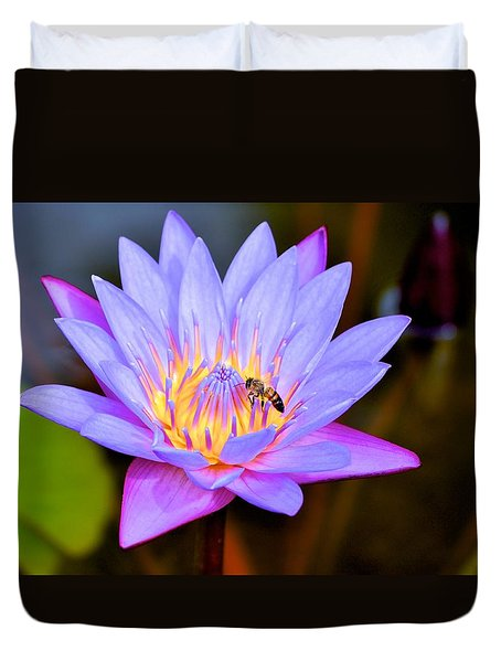 Beautiful Lily And Visiting Bee Duvet Cover by Kristina Deane