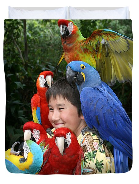 Beautiful Macaw - Garden Of Eden Puohokamoa Valley Maui Hawaii Duvet Cover by Sharon Mau