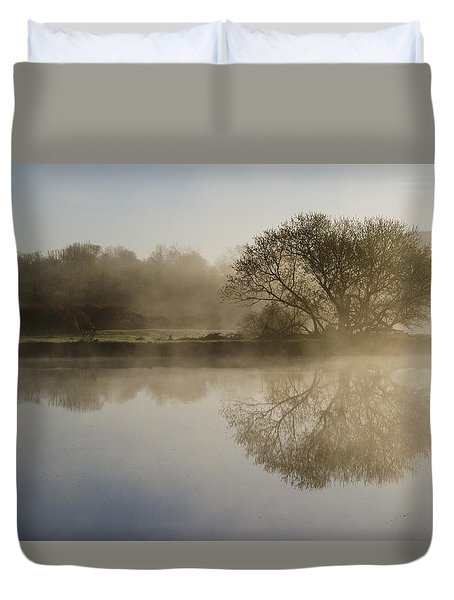 Beautiful Misty River Sunrise Duvet Cover by Christina Rollo