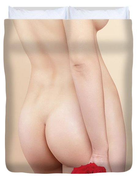 Beautiful Naked Woman With A Rose Duvet Cover by Oleksiy Maksymenko