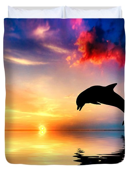 Beautiful Ocean And Sunset With Dolphin Jumping Duvet Cover by Michal Bednarek