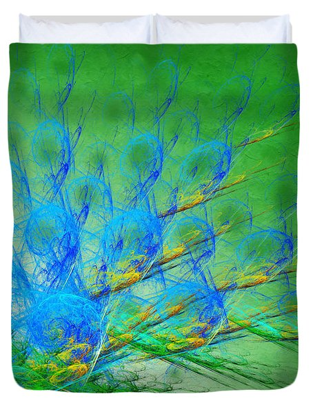 Beautiful Peacock Abstract 1 Duvet Cover by Andee Design