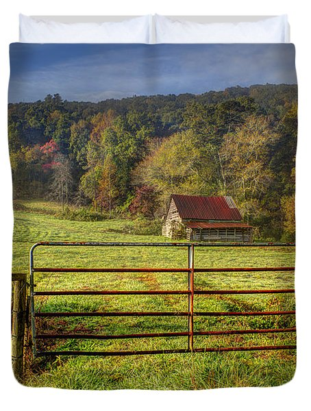 Beautiful Reds Of Autumn Duvet Cover by Debra and Dave Vanderlaan