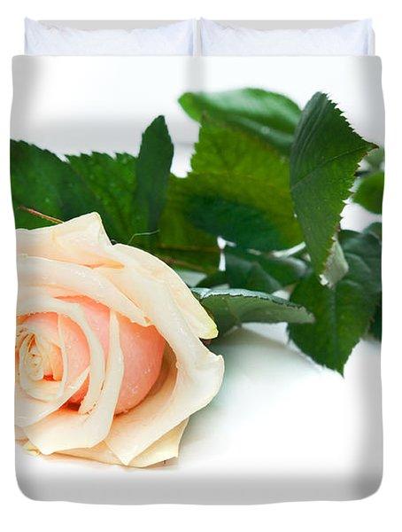 Beautiful Rose On White Duvet Cover by Michal Bednarek