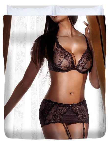 Beautiful Sexy Black Woman In Lingerie Standing At The Window Duvet Cover by Oleksiy Maksymenko