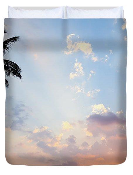 Beautiful Tropical Sunset Duvet Cover by Nila Newsom