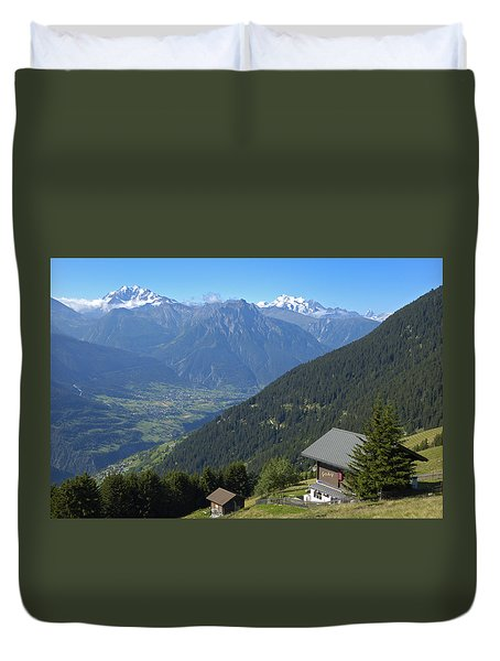 Beautiful View From Riederalp - Swiss Alps Duvet Cover by Matthias Hauser