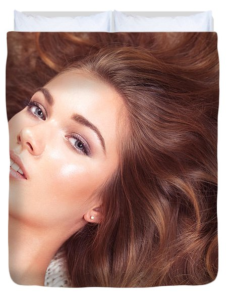 Beautiful Woman With Long Hair Spread Around Her Duvet Cover by Oleksiy Maksymenko