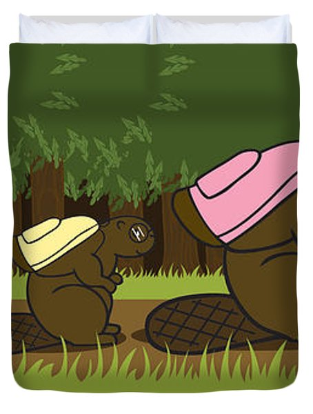 beaver family walk Duvet Cover by Christy Beckwith