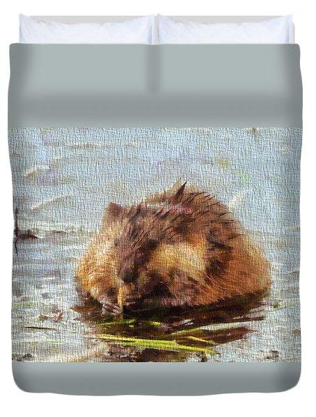 Beaver Portrait On Canvas Duvet Cover by Dan Sproul
