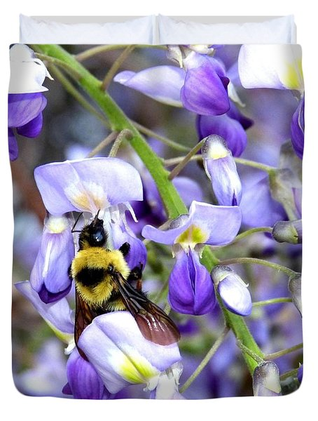 Bee In The Wisteria Duvet Cover by Will Borden