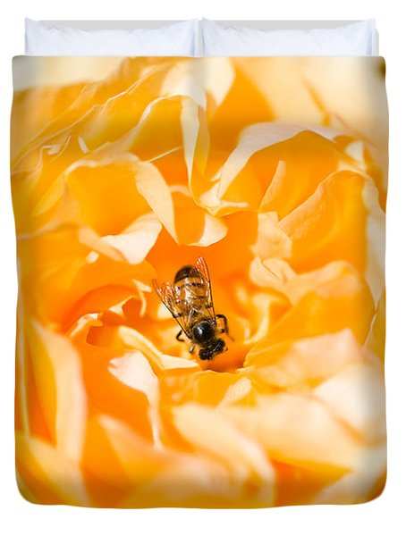 Bee Pollinating A Yellow Rose, Beverly Duvet Cover by Panoramic Images