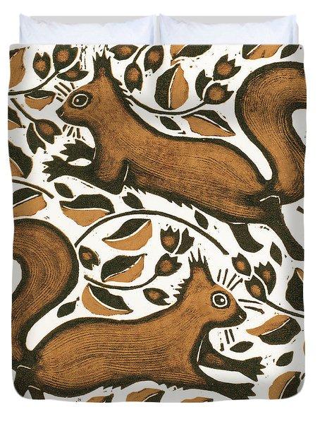 Beechnut Squirrels Duvet Cover by Nat Morley