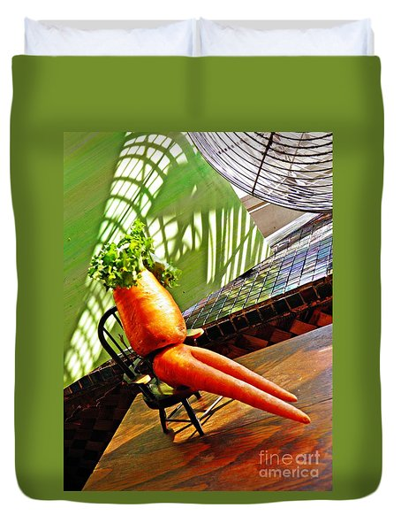 Beer Belly Carrot On A Hot Day Duvet Cover by Sarah Loft