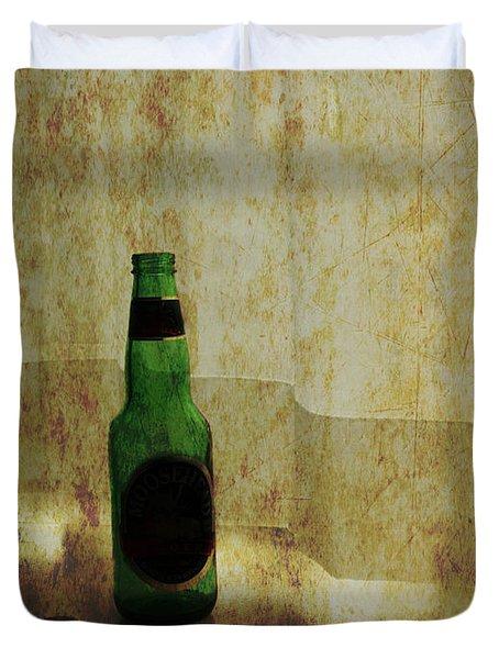 Beer Bottle On Windowsill Duvet Cover by Randall Nyhof