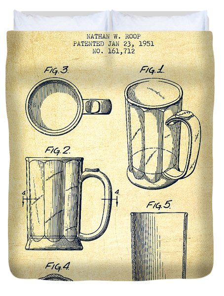 Beer Mug Patent Drawing From 1951 - Vintage Duvet Cover by Aged Pixel