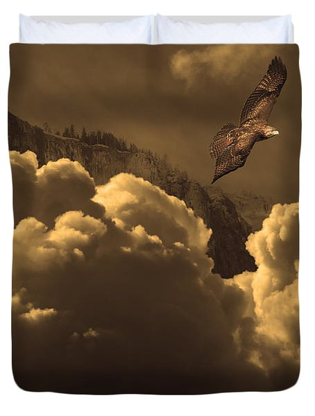 Before Memory . I Have Soared With The Hawk Duvet Cover by Wingsdomain Art and Photography