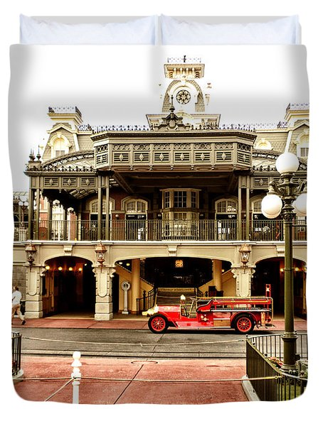 Before The Gates Open The Magic Kingdom Train Station Duvet Cover by Thomas Woolworth
