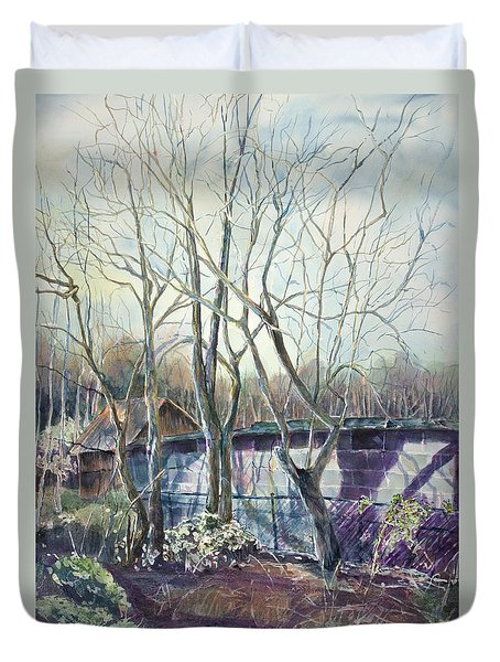 Behind The Shed Duvet Cover by Janet Felts