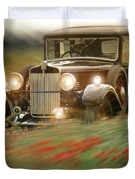 Behind The Wheel Duvet Cover by Edmund Nagele