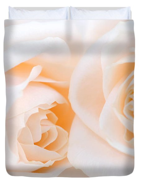 Beige roses Duvet Cover by Elena Elisseeva