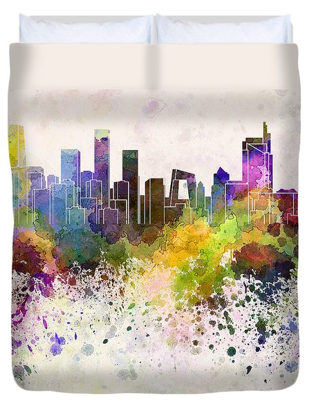 Beijing skyline in watercolor background Duvet Cover by Pablo Romero