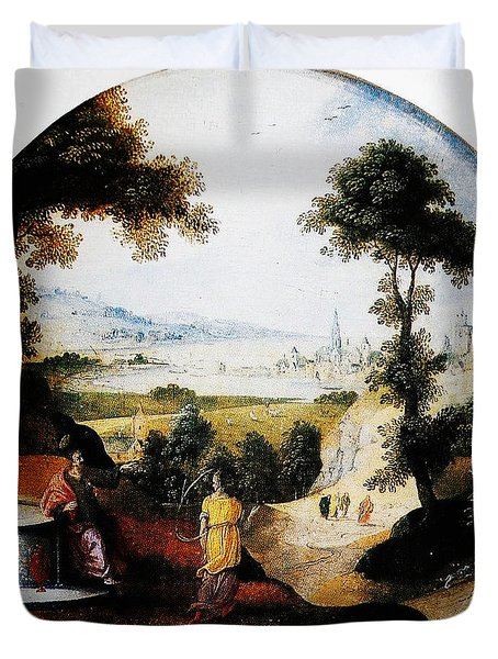 Belgium Belgian Abel Grimmer The Samaritan Woman Art Duvet Cover by MotionAge Designs