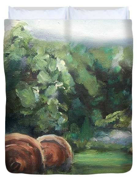 Beliveau Hay Rolls Duvet Cover by Donna Tuten