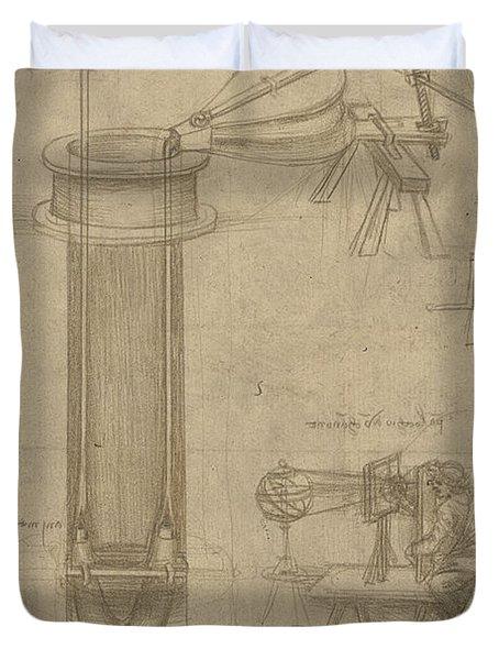 Bellows Perspectograph With Man Examining Inside From Atlantic Codex Duvet Cover by Leonardo Da Vinci