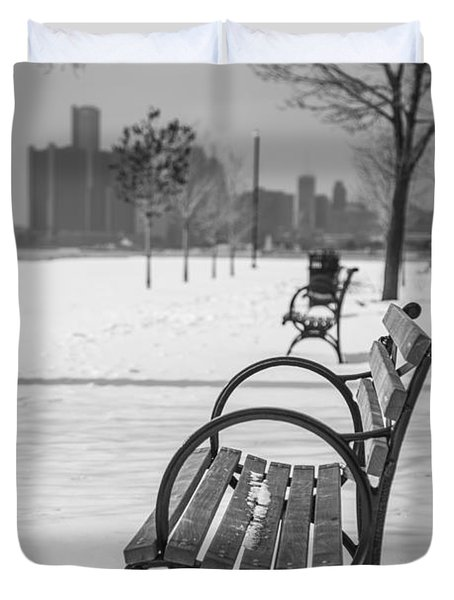 Bench at Belle Isle with Detroit i Duvet Cover by John McGraw